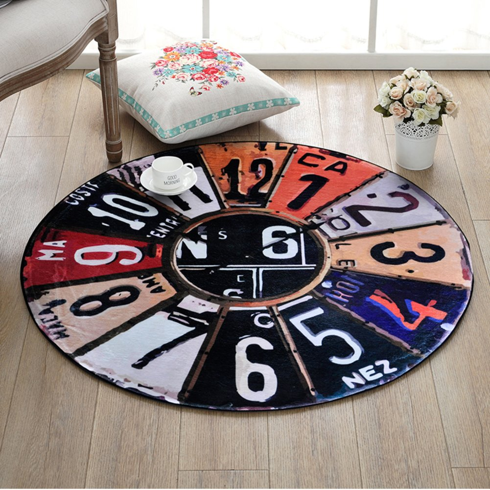 DW&HX decorative rugs,Round,Europe and america retro clock,Runner area,Sofa side,Hanging basket blanket,Children mat Home Bedroom,Desk computer chair mat-B diameter100cm(39inch)