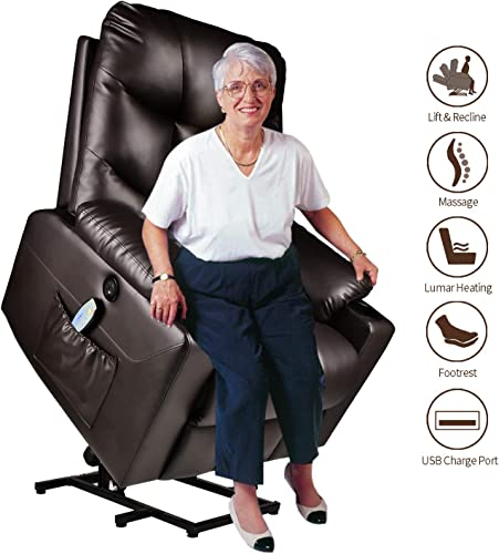 Electric Power Lift Recliner Chair for Elderly with Massage and Heat Vibration with Remote, PU Leather Recliner Chair for Home Theater Seating, Living Room Brown