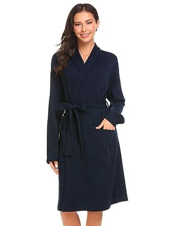 6195d00d6510a1 Damen Bademantel Baumwolle Langarm Morgenmantel Waffelpique V Kragen Kimono  Saunamantel Robe mit Taschen Grau Weiß Navy