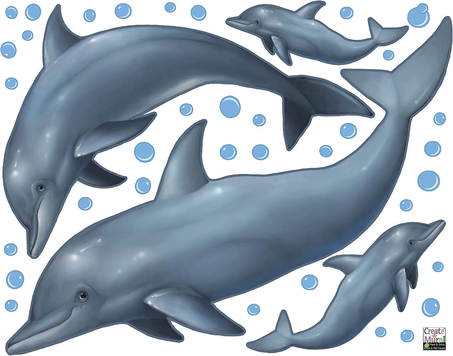Create-A-Mural Dolphin Wall Decals ~Under The Sea Ocean Kids Room Decor Stickers, Removable Peel and Stick Art