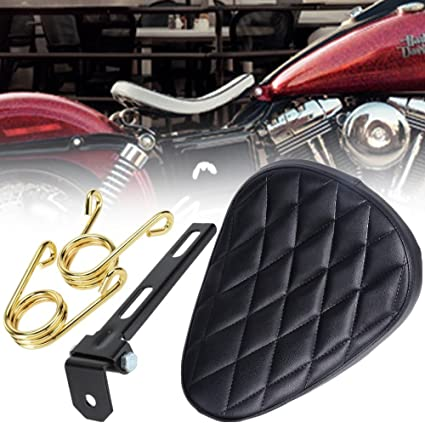 PBYMT Black 3 inch Leather Driver Solo Seat with Spring Bracket Kit Compatible for Harley Honda Yamaha Kawasaki Suzuki Sportster Bobber Chopper Custom