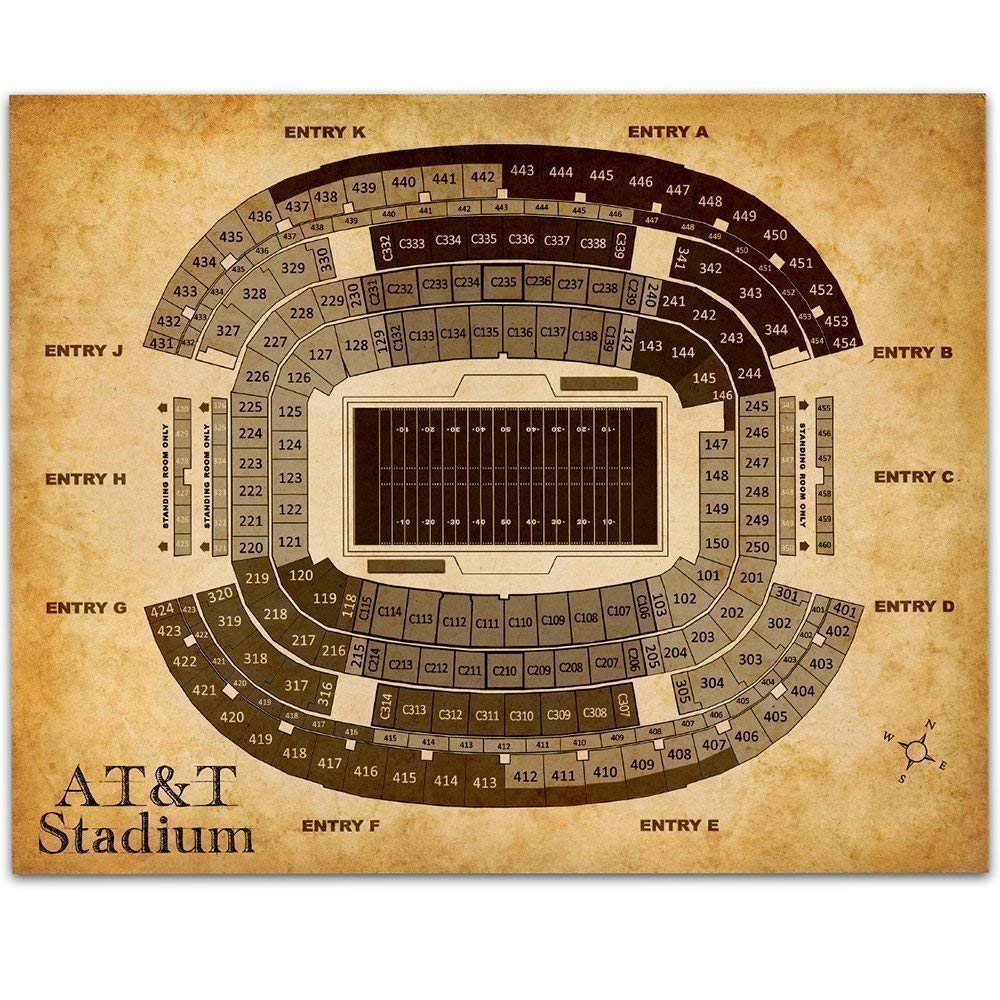 AT&T Stadium of Arlington Football Seating Chart - 11x14 Unframed Art Print - Great Sports Bar Decor and Gift Under $15 for Football Fans