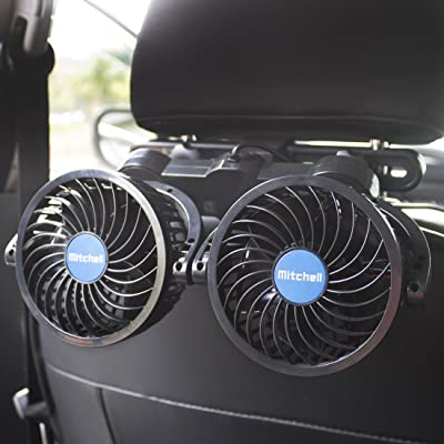 poraxy Car Fans,12V Electric Auto Cooling Fan, Headrest 360 Degree Rotatable Dual Head Stepless Speed Rear Seat Air Fan for Sedan SUV RV Boat: Automotive
