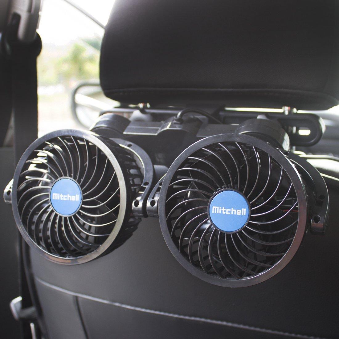 Poraxy Car Fans,12V Electric Auto Cooling Fan, Headrest 360 Degree Rotatable Dual Head Stepless Speed Rear Seat Air Fan for Sedan SUV RV Boat by Poraxy