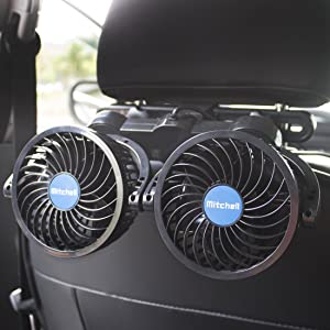 Poraxy Car Fans,12V Electric Auto Cooling Fan, Headrest 360 Degree Rotatable Dual Head Stepless Speed Rear Seat Air Fan for Sedan SUV RV Boat