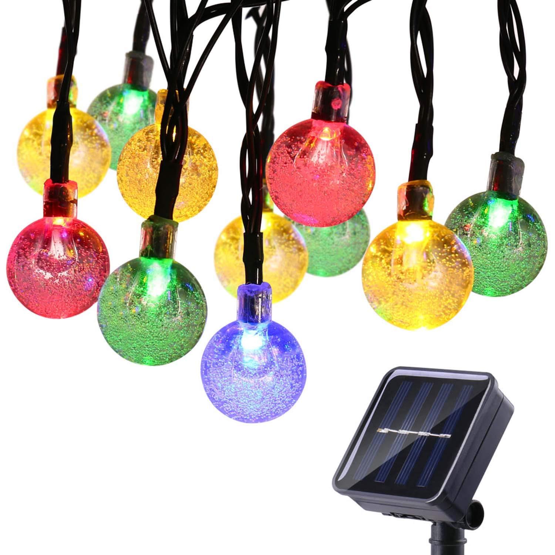Qedertek Luci Natalizie da Esterno Solare, Luci Albero di Natale 6M 30 LED con Palline Trasparente, Luci BiancheAddobbi Natalizi, Luci Natale Esterno Impermeabile, Luci Decorazione Natale e Casa