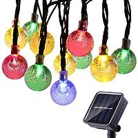 Qedertek Guirlande Lumineuse Solaire 6M 30 LED Boules Cristale Multicolore Lumière Solaire Extérieure pour Noël, Jardin d'été, Patio, Mariage
