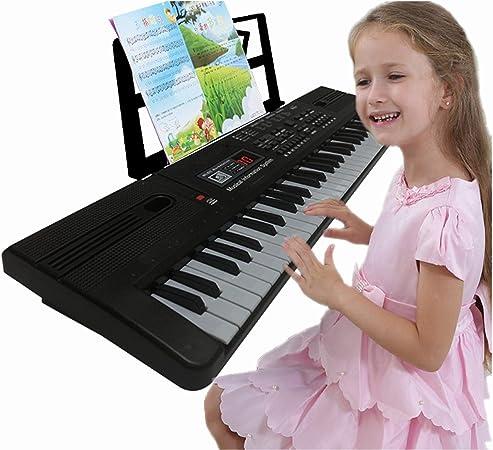 Semart - Teclado de piano para niños (61 teclas, teclado de música digital eléctrico, para principiantes, portátil, con pantalla LCD, micrófono, cable ...