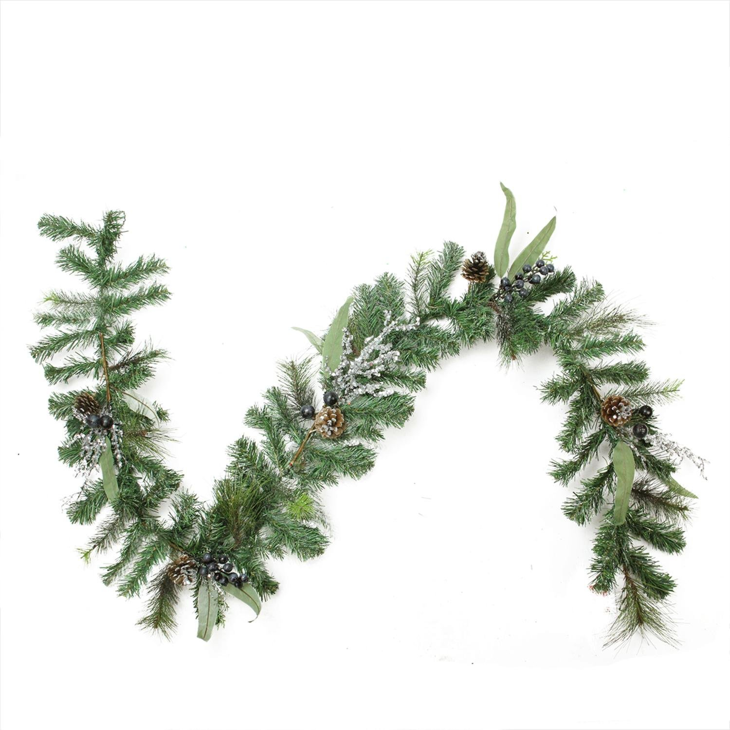Northlight Unlit Artificial Mixed Pine with Blueberries Pine Cones and Ice Twigs Christmas Garland, 6' x 10''