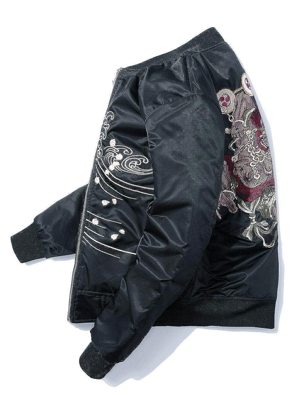 横須賀風 スカジャン MA-1 B2017 メンズ ミリタリー 長袖 バイクジャンパー 風神雷神 カジュアル 刺繍