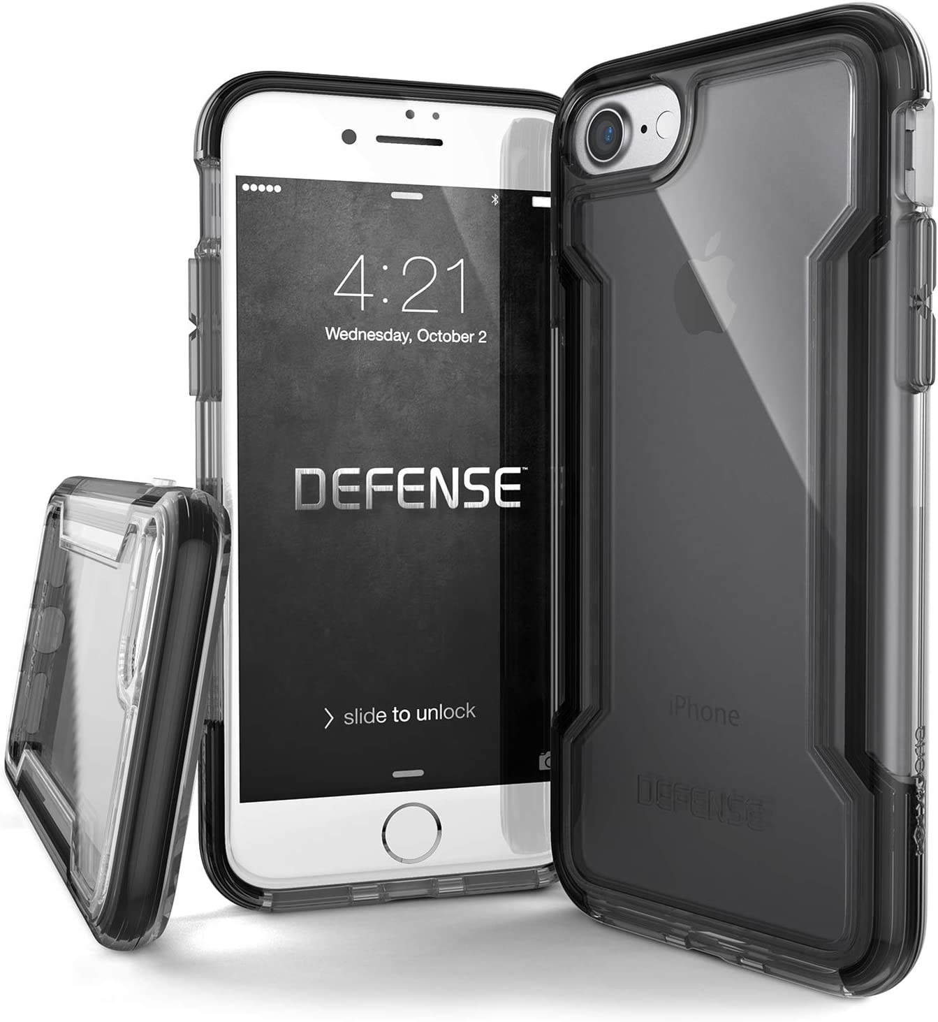X-Doria iPhone SE/8/7 Case, Defense Clear - Military Grade Drop Protection, Clear Protective Case for iPhone SE/8/7 (Black)