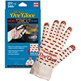 Ove Glove Right Hand  Anti Steam  Glove  with Red Non-Slip Silicone Grip, Yellow/White