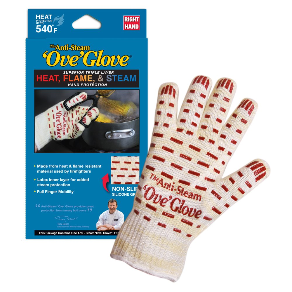 Ove Glove GIF Anti-Steam, Hot Surface Handler Oven Mitt Glove, Right Hand, Perfect for Kitchen/Grilling, 540 Degree Resistance, As Seen On TV Household Gift, One Size Fits Most Most, Yellow/Whitered