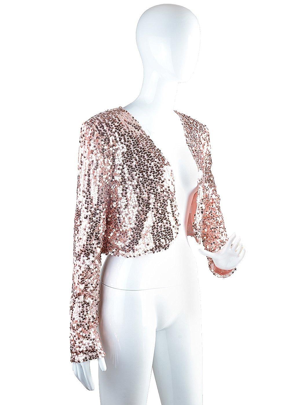 Anna-Kaci Femmes paillettes Sequins manches longues Blazers Bolero  Haussement d épaules recadrée veste. Agrandir l image e71ce3960e43