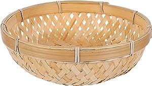 DOITOOL Bread Serving Basket Wicker Fruit Basket Rattan Food Storage Basket Wicker Tray Handmade Basket Decorative Bowl Snack Gift Basket for Kitchen Home 22X7cm