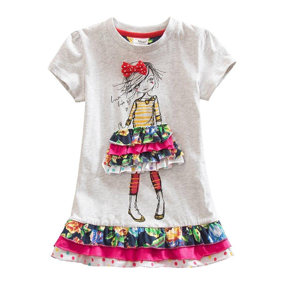 Juxinsu Cotton Girl Short Sleeve Dress Little Girl Cartoon Pattern for Summer Baby Clothes 3-8 Years SH3660 (Gray, 7t)