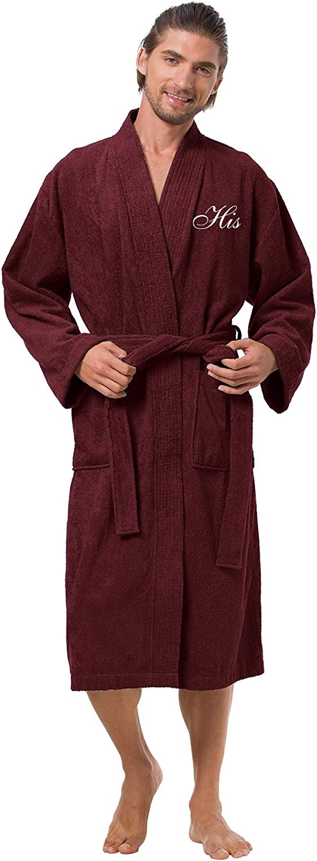 AW BRIDAL Couples Terry Cotton Kimono Robe Spa Bathrobe Set Unisex Hotel Robe with Elegant Script Embroidery