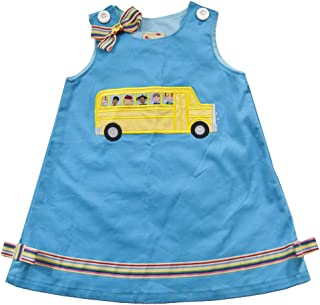 product image for Cheeky Banana Little Girls Schoolbus Applique Dress w/Bow Size 2 Turquoise