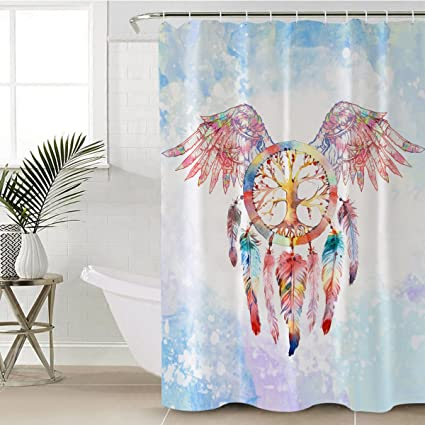 Sleepwish Dream Catcher Shower Curtain Boho Chic Curtains Antibacterial Waterproof Red Wings Decorative Bath