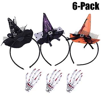 3 pack halloween headband3 pcs hair clipfascigirl halloween party witch spider hat