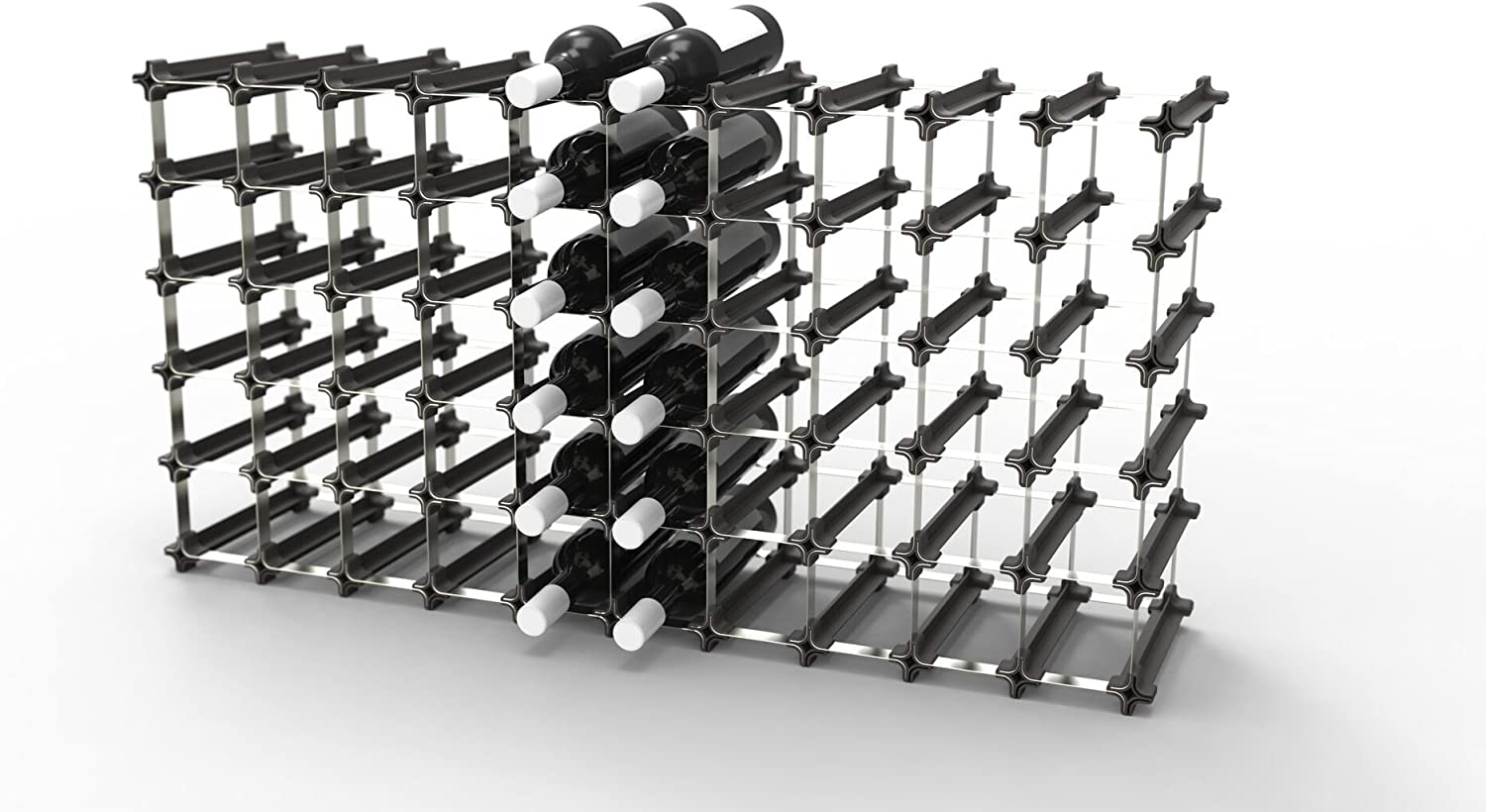 No Hardware Required Easy 2 Step Assembly Capacity: 60 Bottles 50 Nook Wine Rack