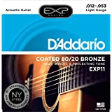 D'Addario EXP11 EXP Coated 80/20 Bronze Light  (.012-.053) Acoustic Guitar Strings