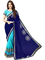 Shiroya Brothers Women's Georgette Saree With Blouse Piece (C Green_Saree,Multicolor,Free Size)
