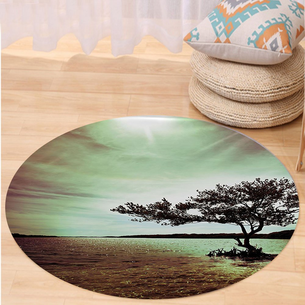 VROSELV Custom carpet Lonely Tree Scene for Living Room Bedroom and Dorm Decor Accessories College List One of a Kind Machine Washable Silky Satin in Woodsy Decor Burgundy Green Round 72 inches
