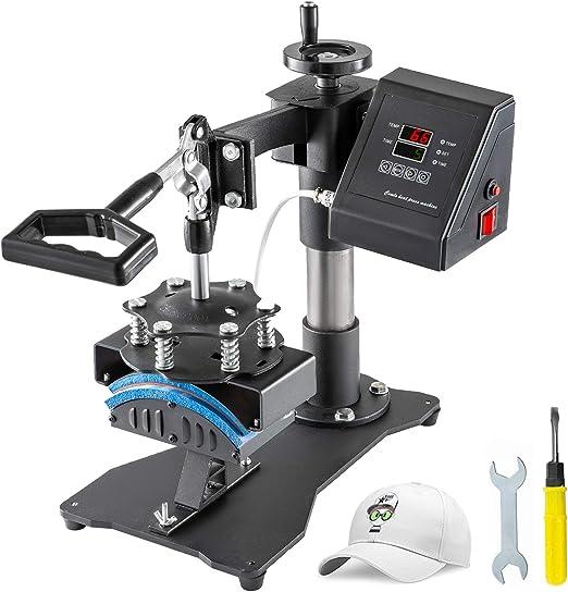 VEVOR CP815B Cap Hitzepresse Maschine 600W Cap Press Machine Cap Kappenpresse 220V M/ützenpresse DIY Cappresse mit Digitaler LCD-Timer und Temperatur-Kontrolle