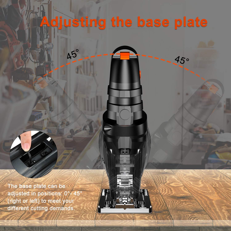 LOMVUM 800W Scie Sauteuse 3100 RPM Vitesse R/églable Angle Max 45/° WD40280