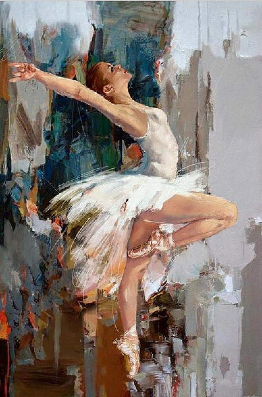 QMLZB Bailarina Bailarina Lienzo Pintura Artista Famoso Pintado Abstracto Ballet Chica Pintura de Pared Moderna Pared Arte Cuadros(40*50cm Frameless)