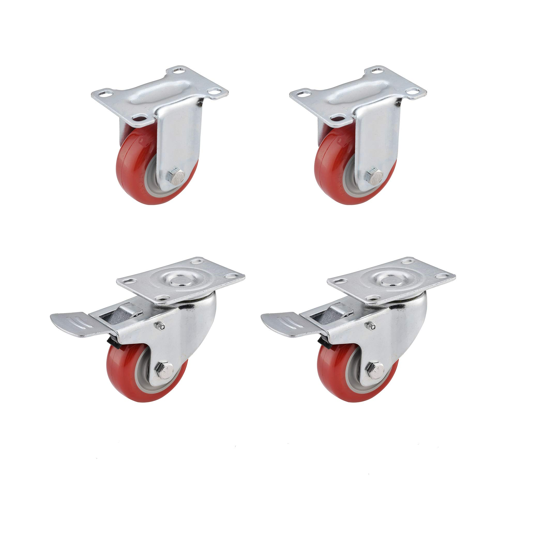 "Heavy Duty 5/"" Caster Plate Polyurethane 2 Swivel and 2 Fixed Wheels 4 Lot of"