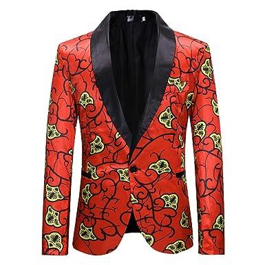 96d4a7bba32 Amazon.com  Christmas Mens Slim Fit 2019 New Blazer Jacket One Button Suit  Jacket Sport Coat  Clothing