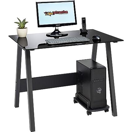various colors b5217 2df6e Compact Toughened Black Glass Computer Desk Home Office Piranha Furniture  Barbel PC 7bg