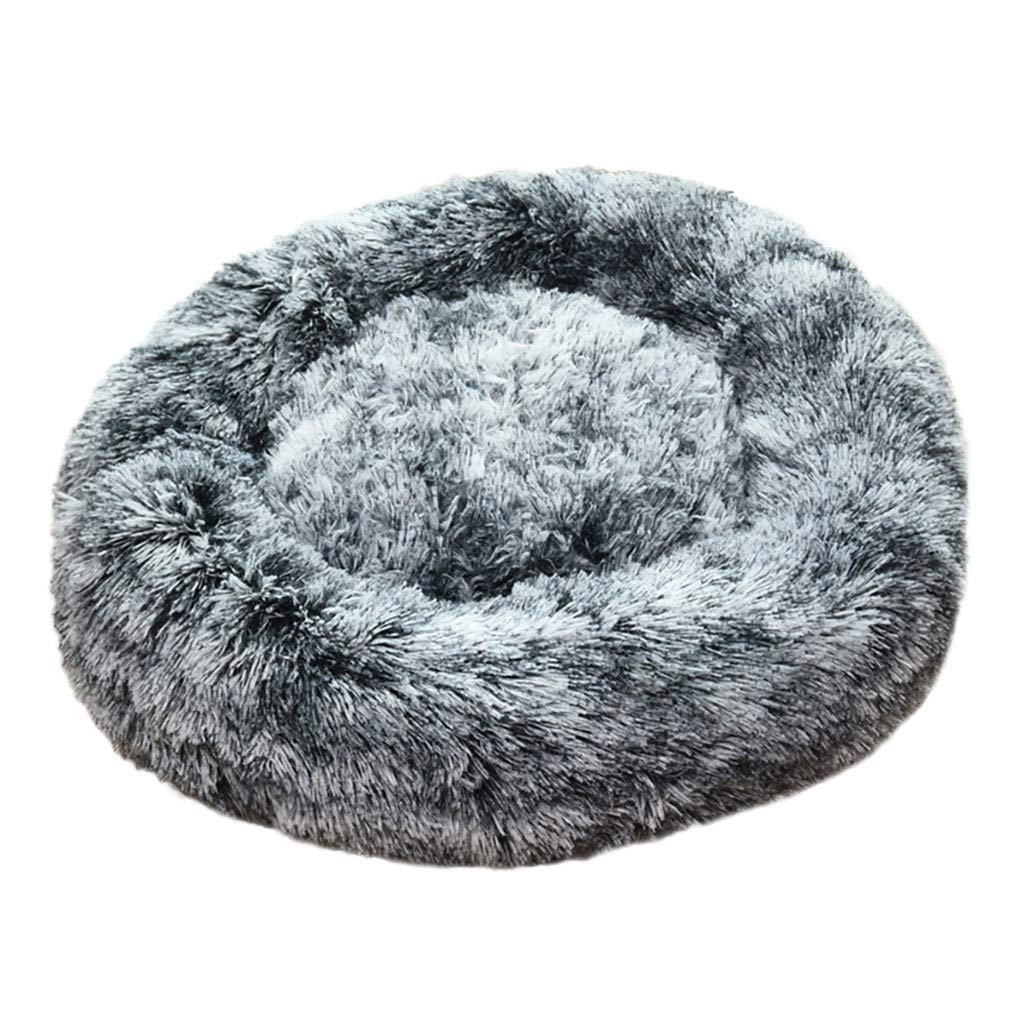 Pet Calming Bed, Mosunx Cat and Dog Bed Luxury Shag Fuax Fur Donut Cuddler Round Donut Dog Beds Indoor Pillow Cuddler for Medium Small Dogs (M, Black) by Mosunx
