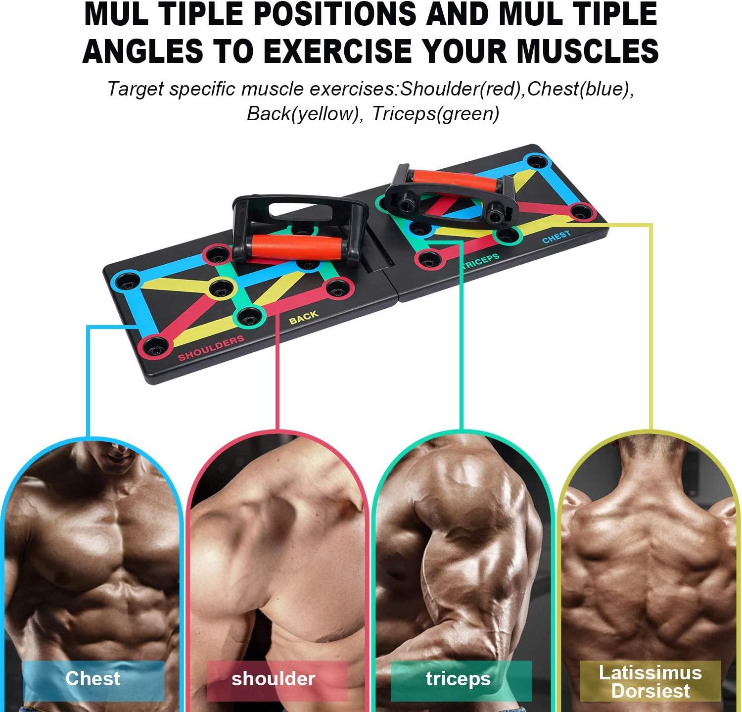 Widousy Multi-function Push Up Board Foldable 9 In 1 Body Building Push Up Rack Board for Body Muscle Training Sport Gym Home or Outdoor Exercise Foldable Body Building Stands Board
