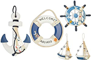 Juvale Wooden Nautical Hanging Wall Decorations, Helm, Anchor, Buoy, Boat (5 Pieces)