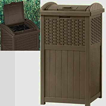 Outdoor Patio Trash Can Decorative with Lid Large Heavy Duty Portable  Waterproof Modern 30 Gallon Big - Amazon.com: Outdoor Patio Trash Can Decorative With Lid Large Heavy