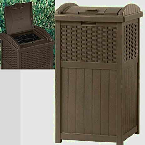Beau Outdoor Patio Trash Can Decorative With Lid Large Heavy Duty Portable  Waterproof Modern 30 Gallon Big