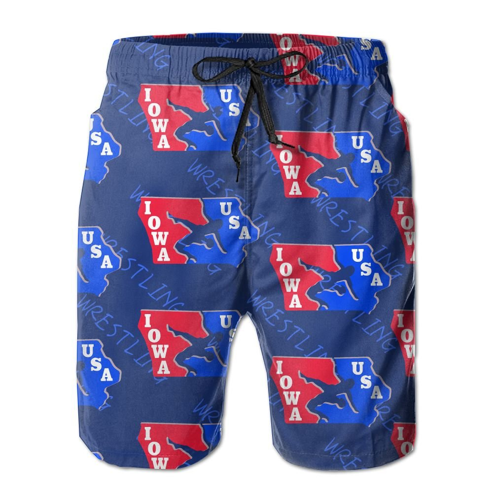 Oct USA Wrestling Logo Long Mens Boardshorts Swim Trunks Tropical Athletic Board Shorts Surf Trunks by Oct