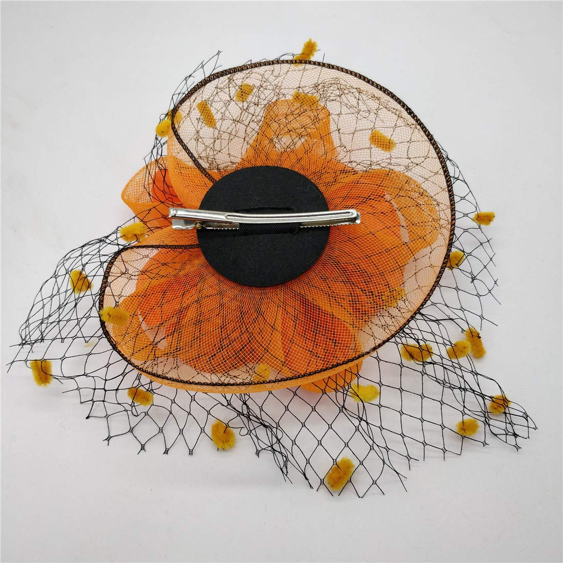 Ahugehome Fascinator Hair Clip Headband Feather Flower Pillbox Hat Wedding Tea Party