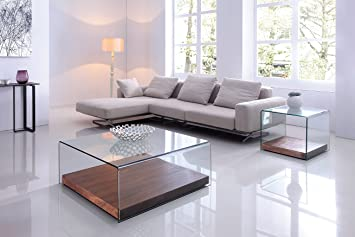 Design Couchtisch Glas | Design Couchtisch Wood Cube Aus Glas Klar 100 X 100 X 38cm