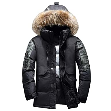 b7ae70082 Amazon.com: Men Winter Jacket Thick Warm White Duck Down Parka ...