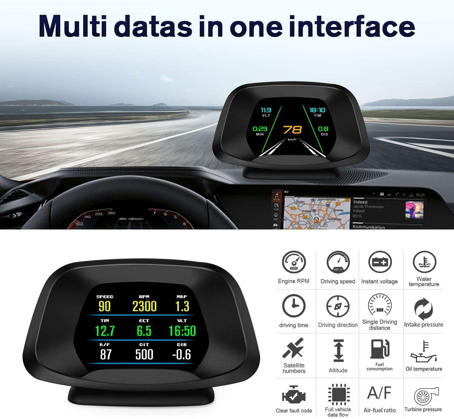 Universal OBD2 GPS HUD HD LCD Screen Multifunctional Car Head Up Display for All Vehicle