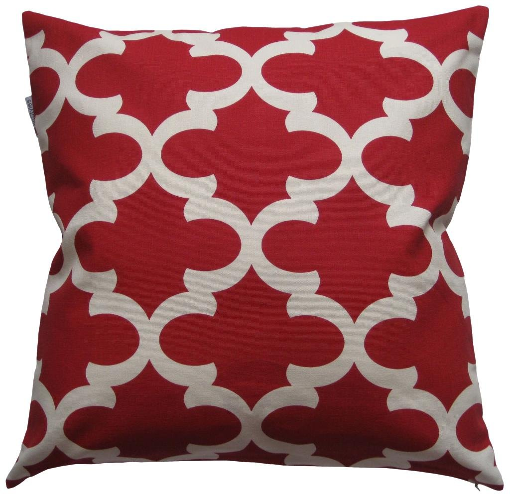JinStyles Cotton Canvas Quatrefoil Accent Decorative Throw Pillow Cover (Christmas Red, White, Square, 1 Cushion Sham for 18 x 18 Inserts)