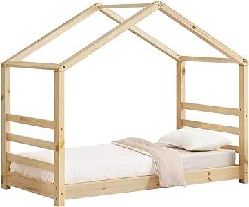 en.casa] Cama para niños de Pino 70 x 140 cm Cama Infantil Forma de casa en Color Pino Natural: Amazon.es: Hogar