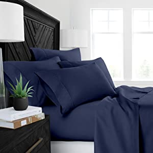 "4PCs Sheet set 400 Thread count 100% Cotton Sheet Navy Blue Solid Full Sheets Long Staple Cotton Fits Mattress Upto 15"" Deep Pocket Soft Sateen Cotton Bedsheet and Pillowcase ,Luxury Bedding"