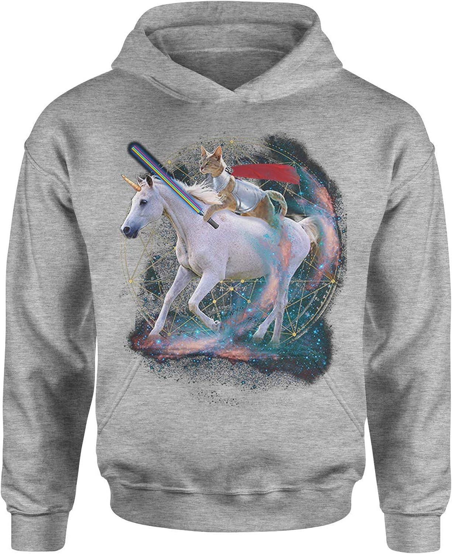 Expression Tees Leprechaun Riding A Unicorn Unisex Adult Hoodie