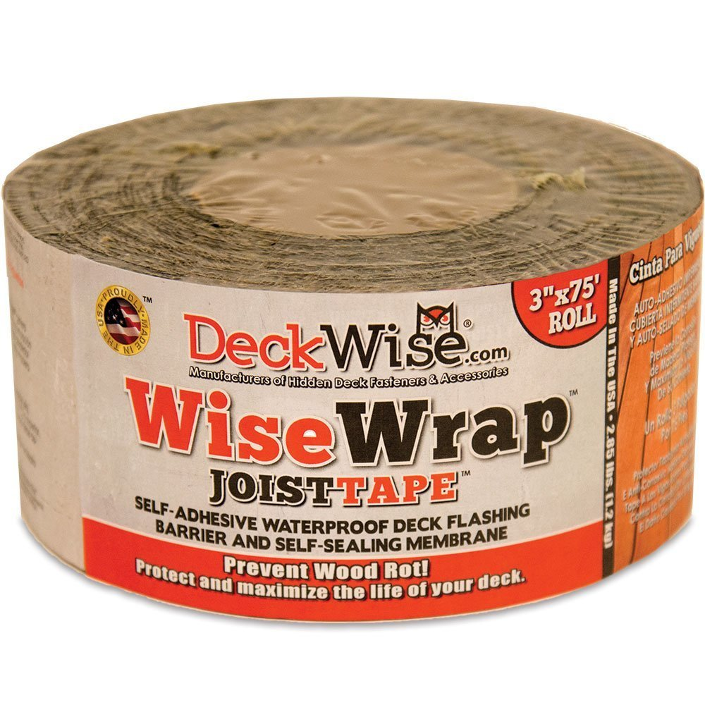 DeckWise WiseWrap JoistTape 3'' x 75' Self-Adhesive Deck Joist Flashing Tape for Hardwood, Thermal Wood, PVC, Pressure Treated, and Composite Decking (1 roll)