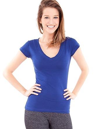 27ffac77633e Ladies Royal Blue Plain Short Sleeve T-Shirt Round V-Neck Cotton Spandex